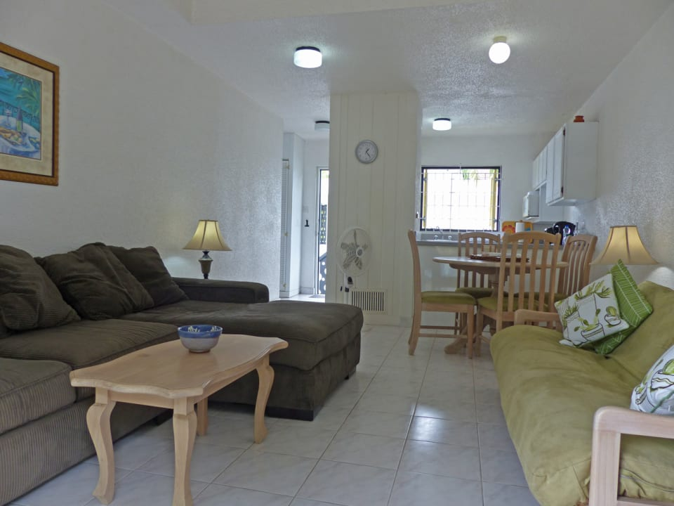 Living area to the kitchen