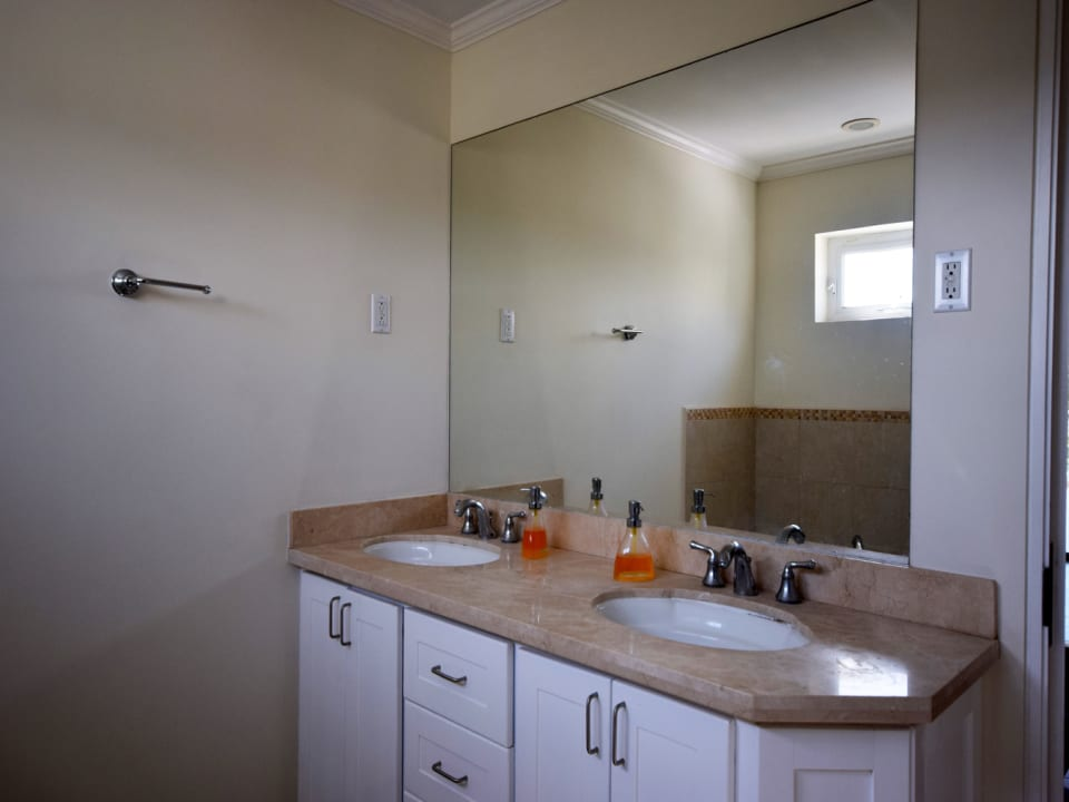 Master bathroom with double vanity, shower and tub