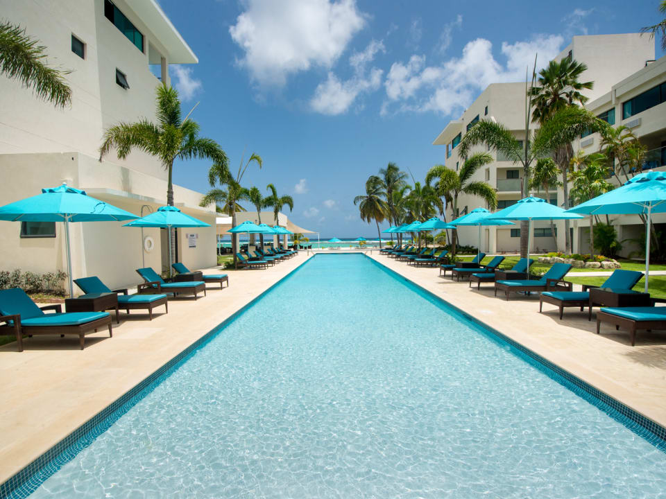 View of the courtyard and pool lounge area