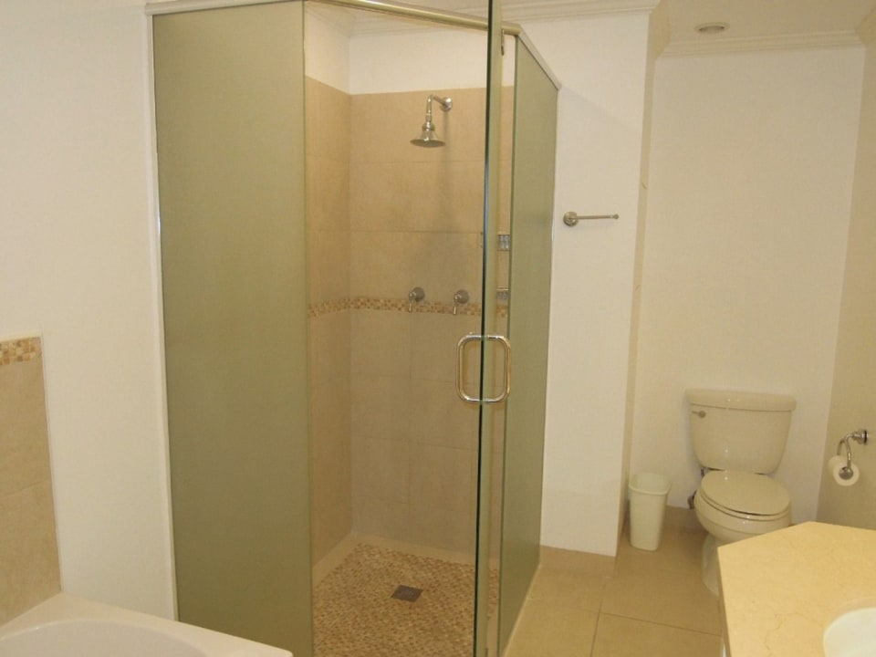 The bathrooms offer both tubs and showers
