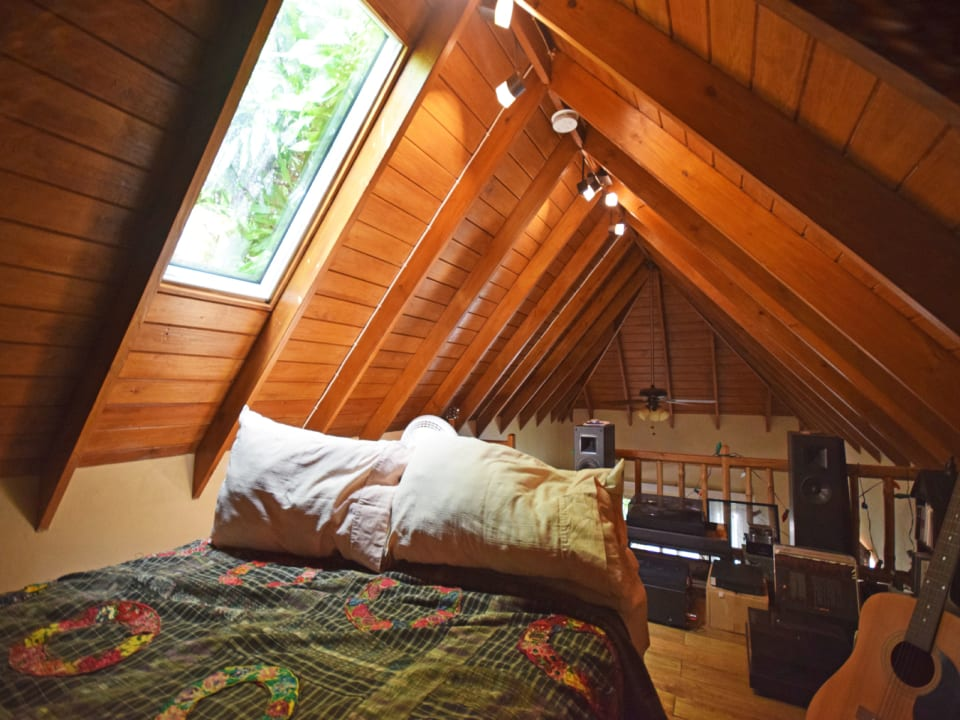 Loft bedroom with sky light