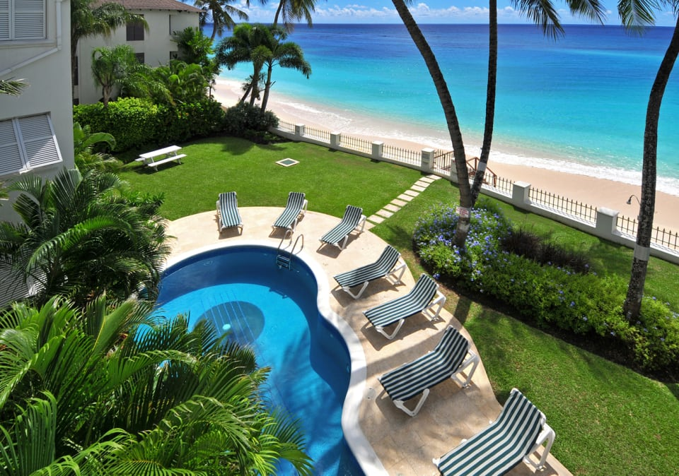 View from balcony to the Pool and Sea