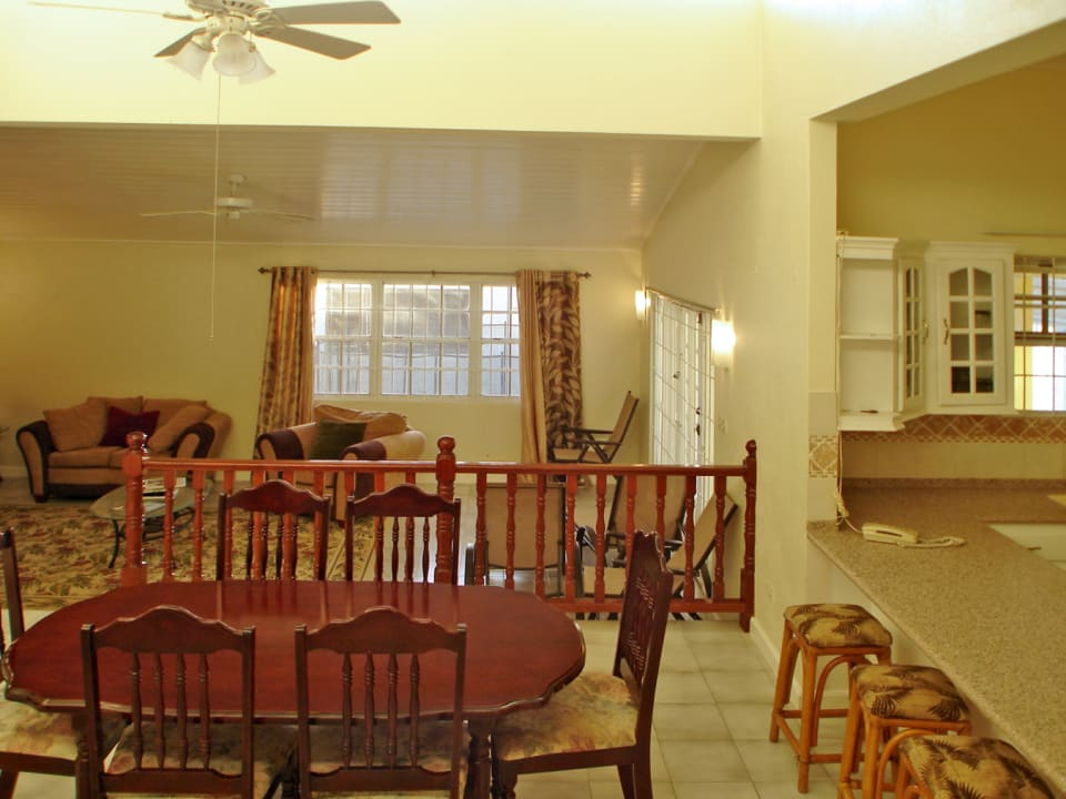 Dining, living and kitchen