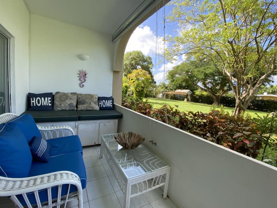Comfortable terrace with garden views