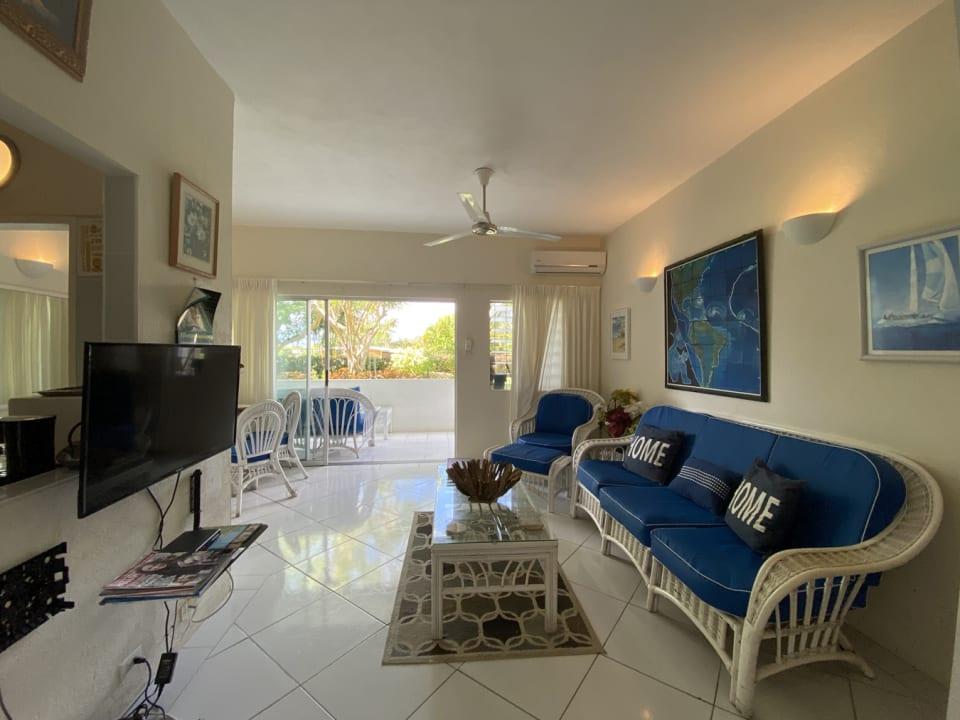Living room opens to garden terrace