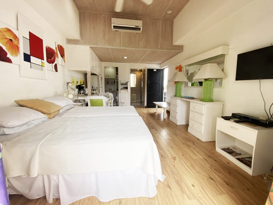 Open plan bedroom & living with kitchen and bathroom in background