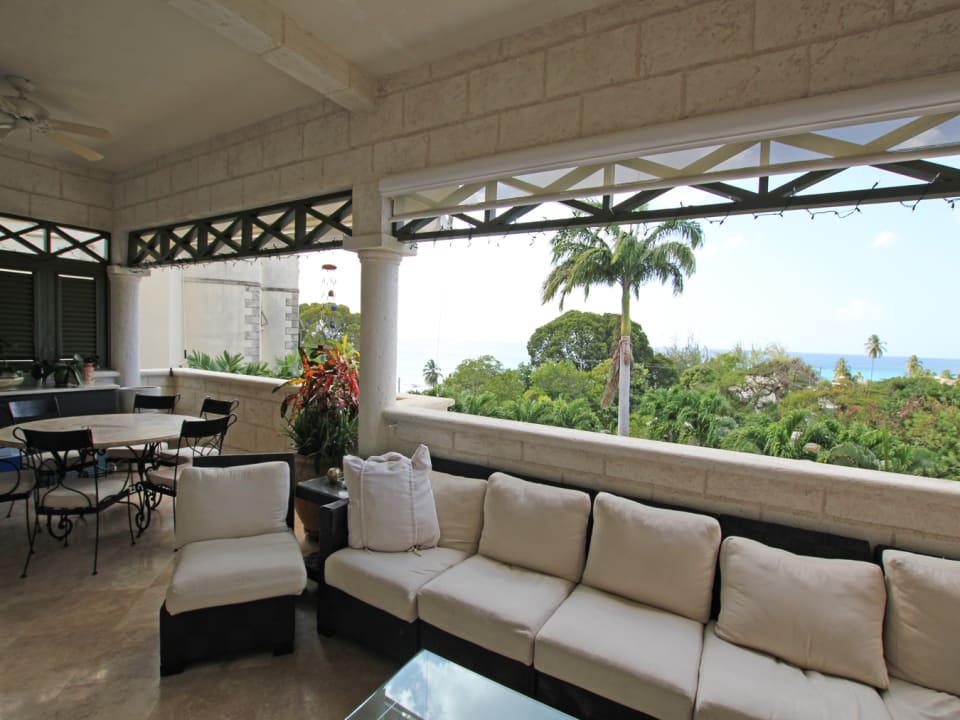Large patio with sea views