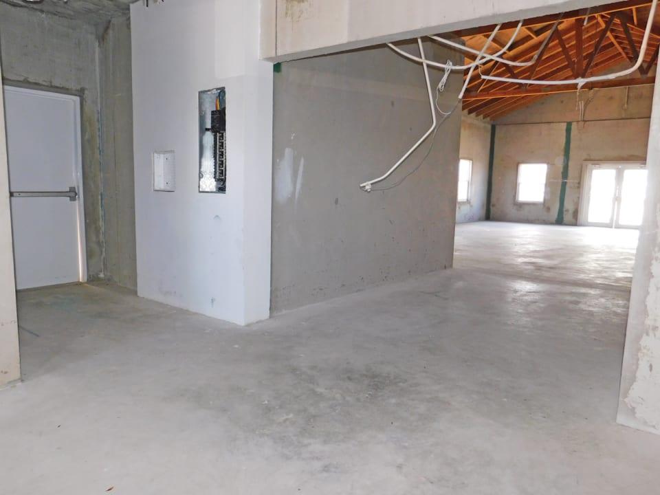 Kitchen area with back door