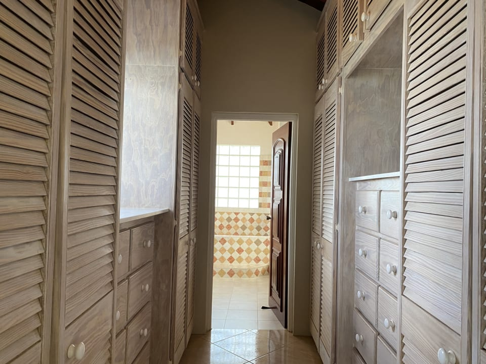 Walk through closets in master bedroom