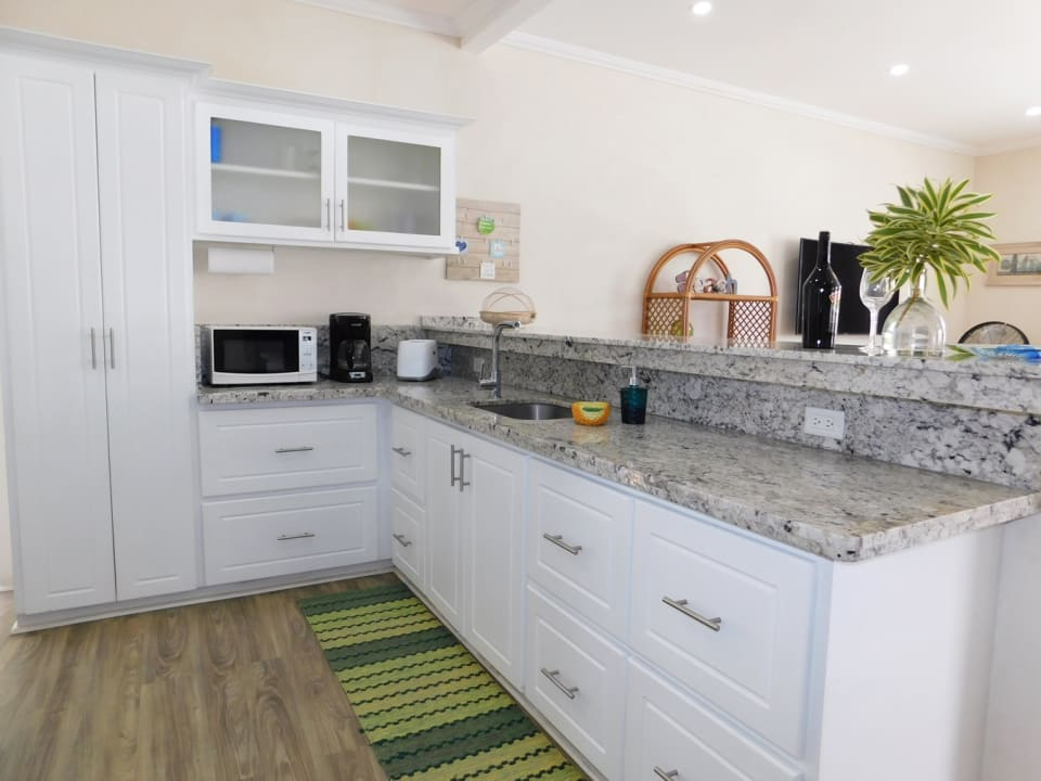 Marble counters and solid wood cabinets