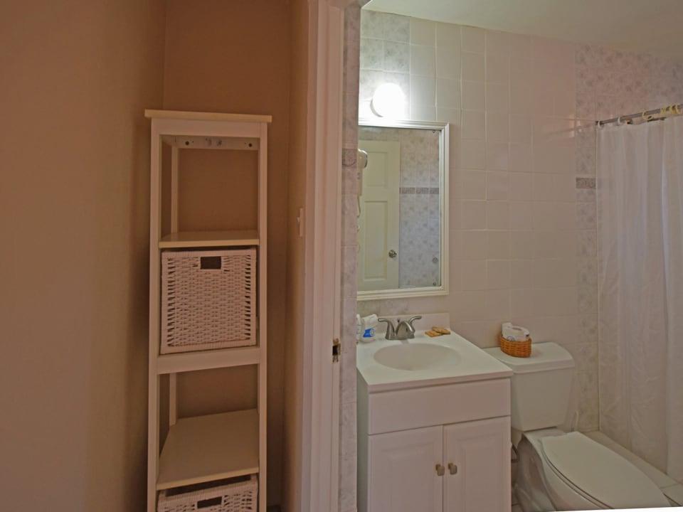 Storage and bathroom