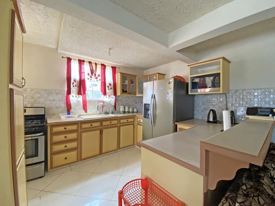 Spacious kitchen with fridge, microwave and stove