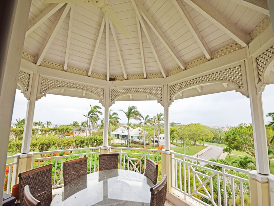 Private patio with clubhouse views