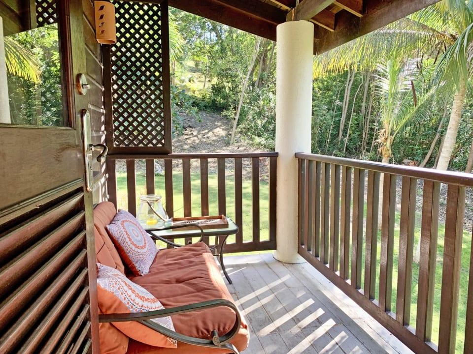 Upper floor balcony overlooks the garden