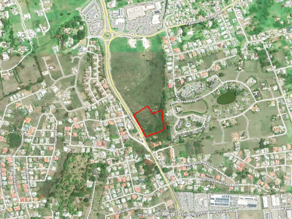 Aerial view with plot outline