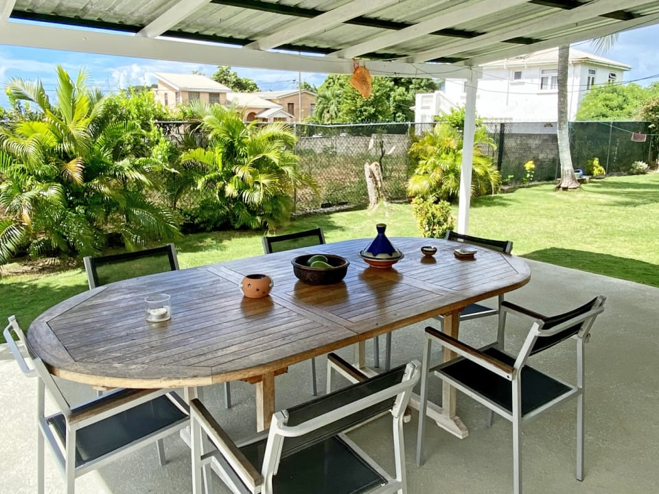 Large patio with outdoor dining