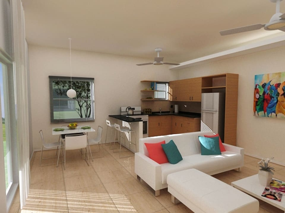 Typical open plan living/dining area