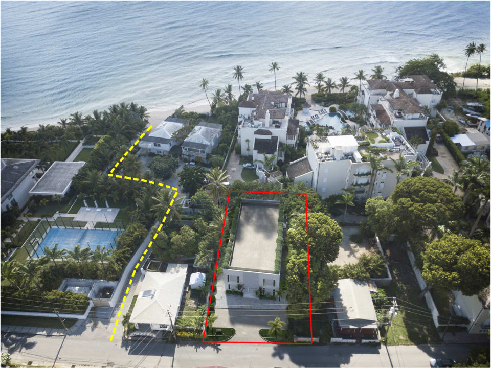 Google overlay with building in red and walkway to the beach in yellow