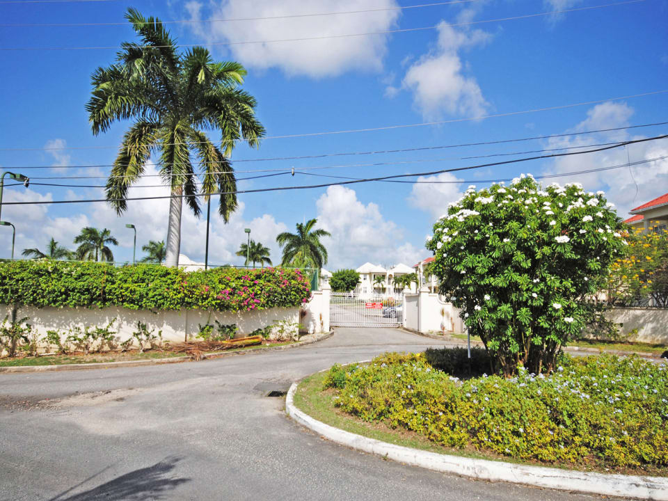 Gated entrance to community