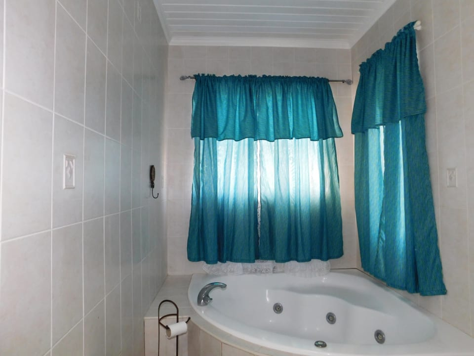 Main bathroom with a tub and shower opposite.