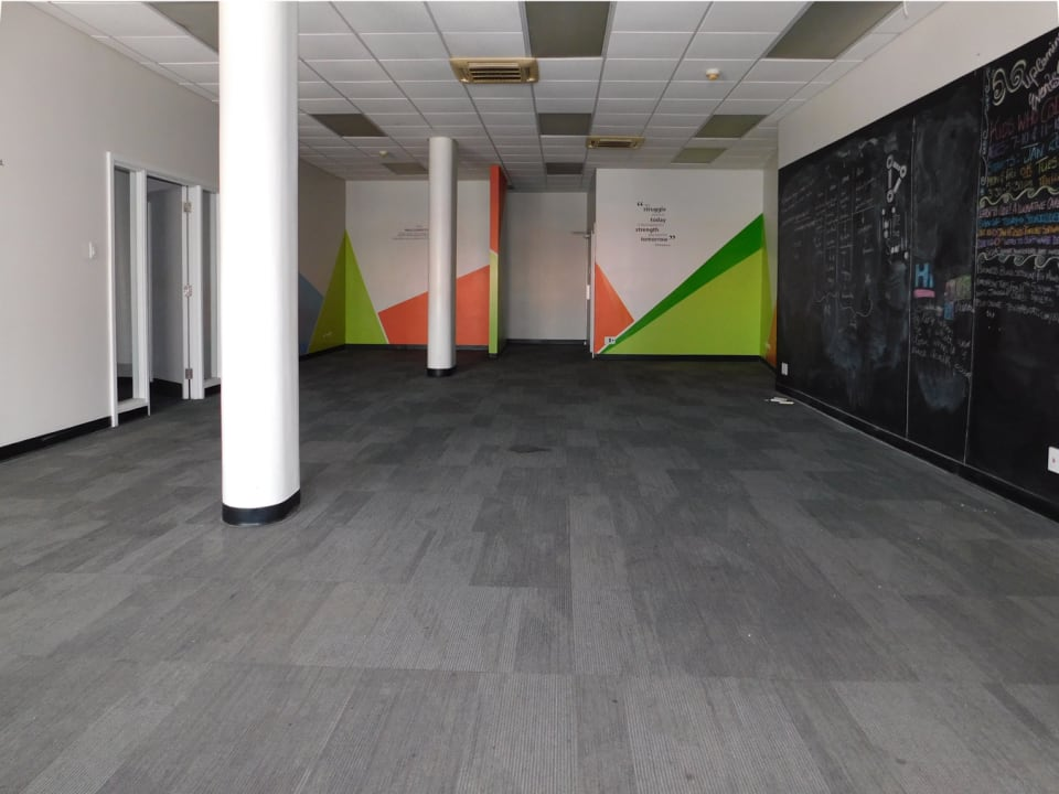 Large open spaces with commercial carpeting