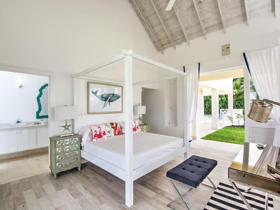 Master bedroom which looks out to the garden