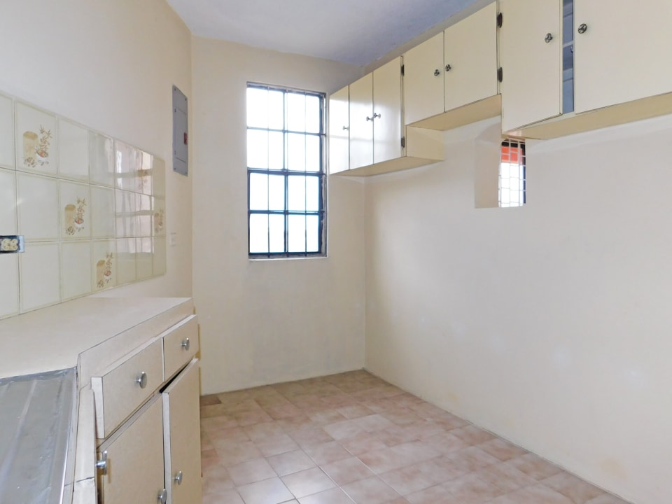 Kitchen area with natural gas connection
