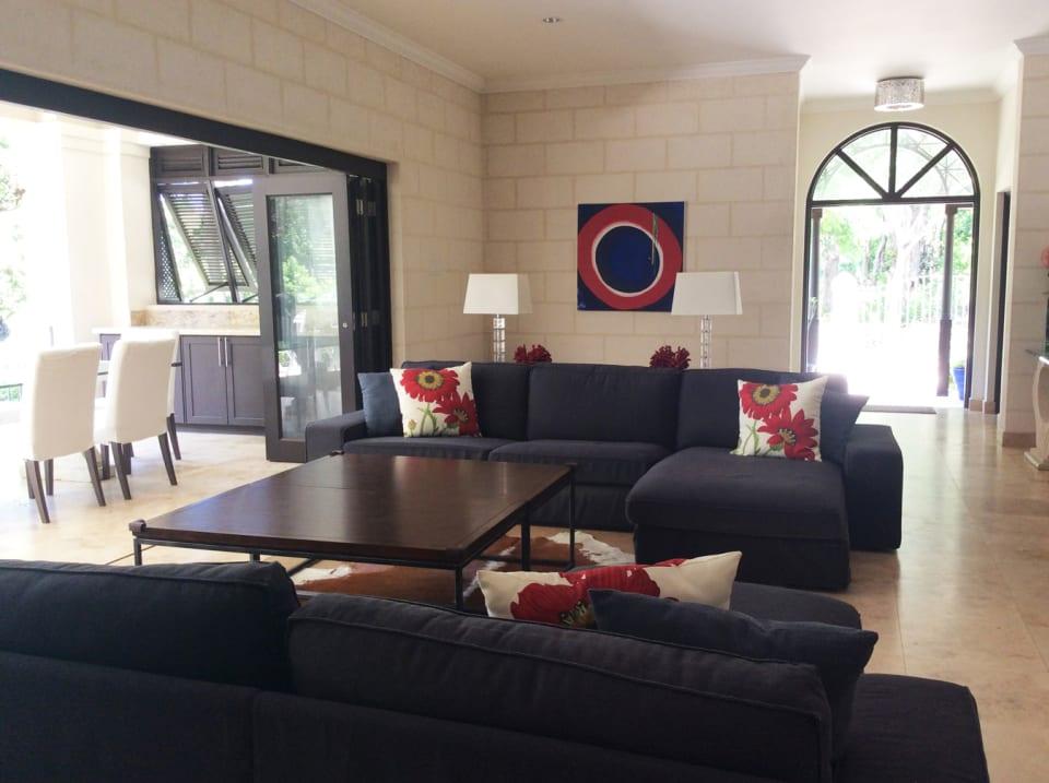 Comfortable living adjoins large terrace