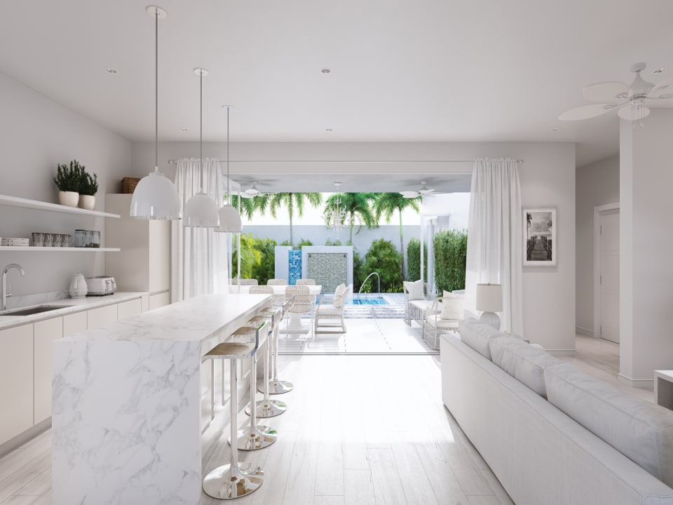 Living space flows out on to the pool