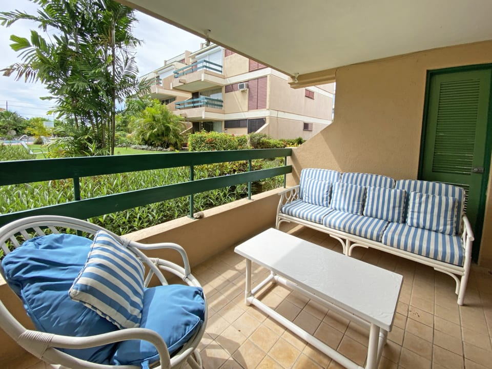 Garden terrace with garden & pool views