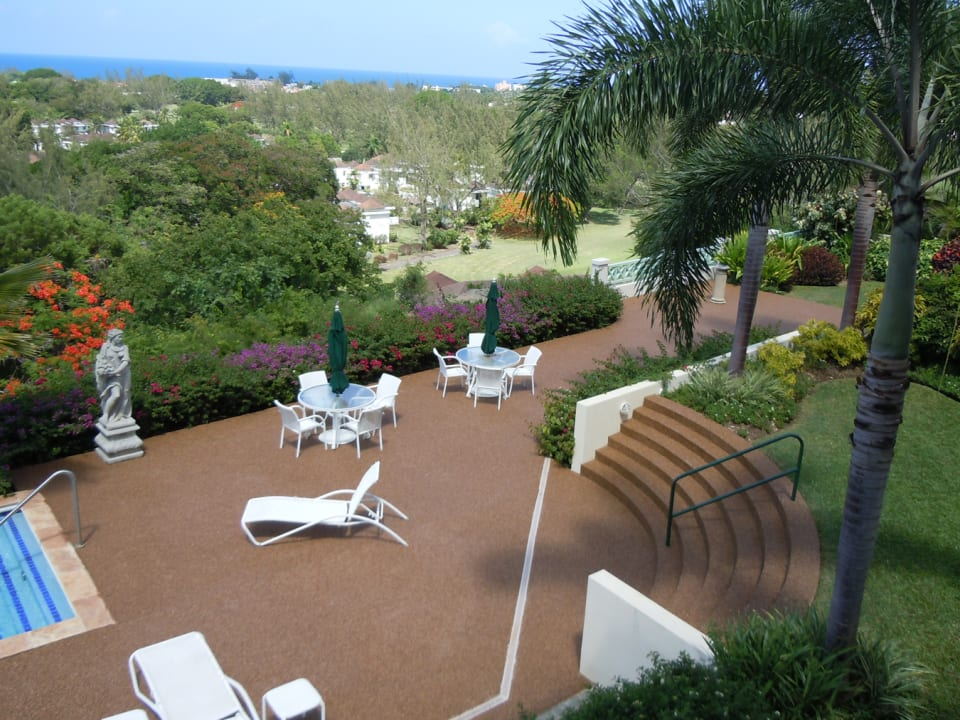 pool deck and view to golf course and sea