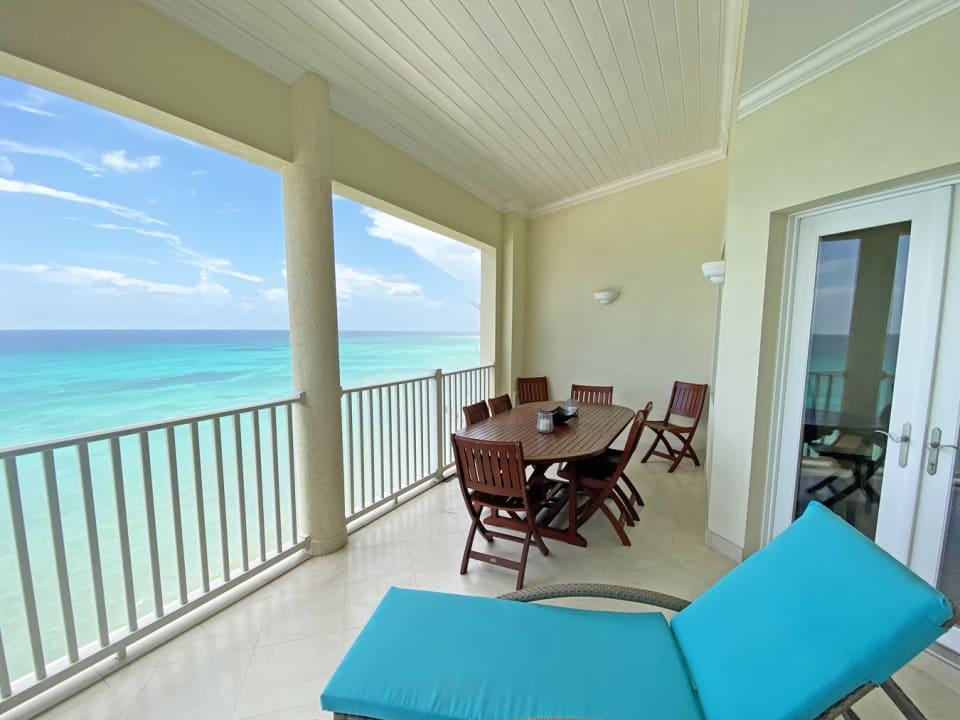 Spacious balcony with sea views
