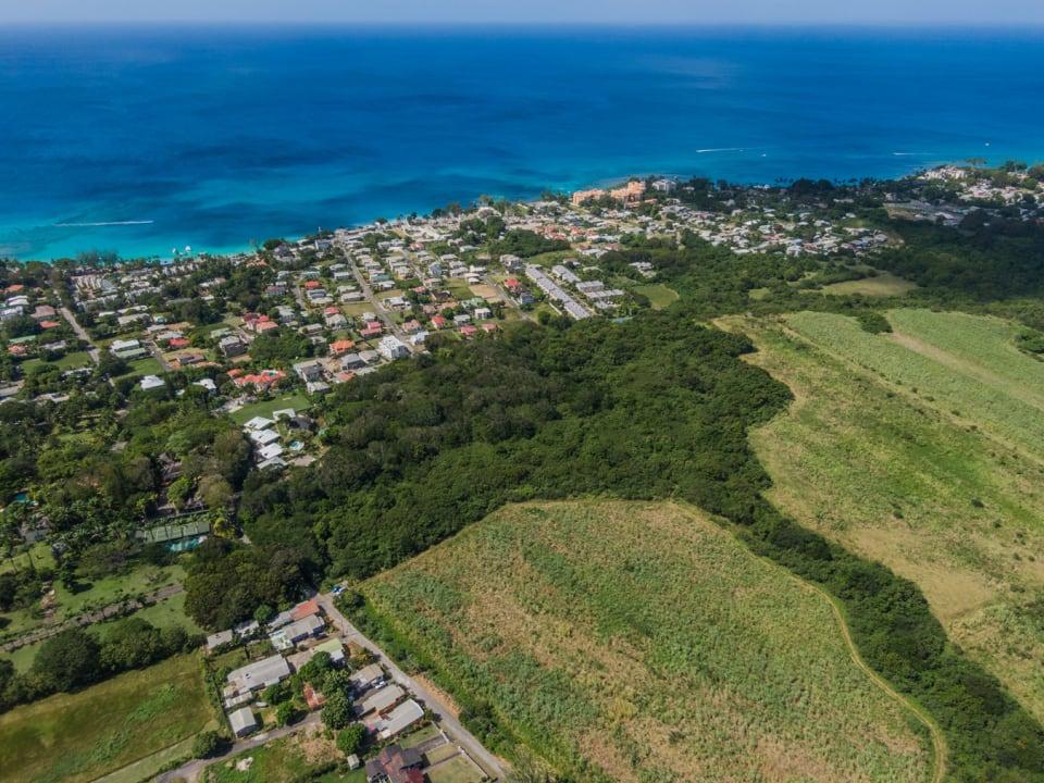 Aerial of land looking West