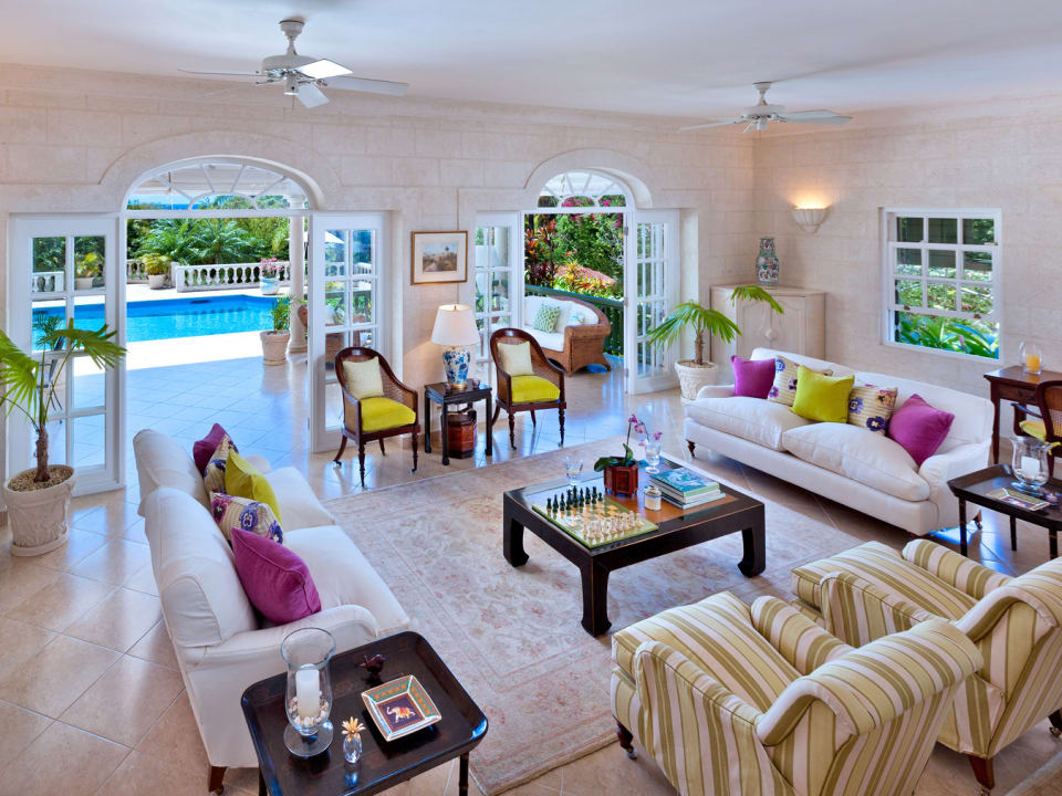 View of living room terrace and swimming pool