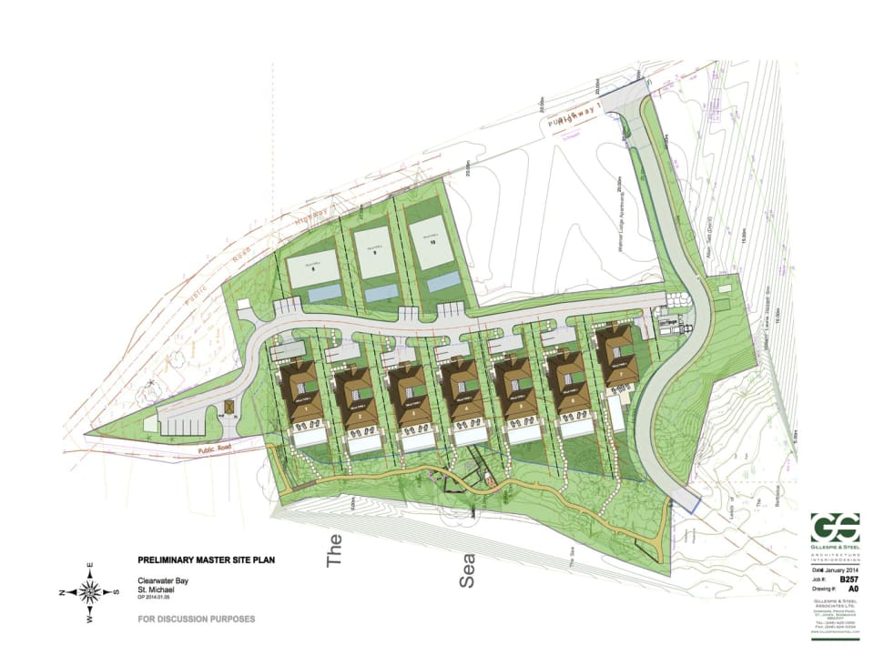 Site plan with planning approval for seven 3 storey villas and 3 homes