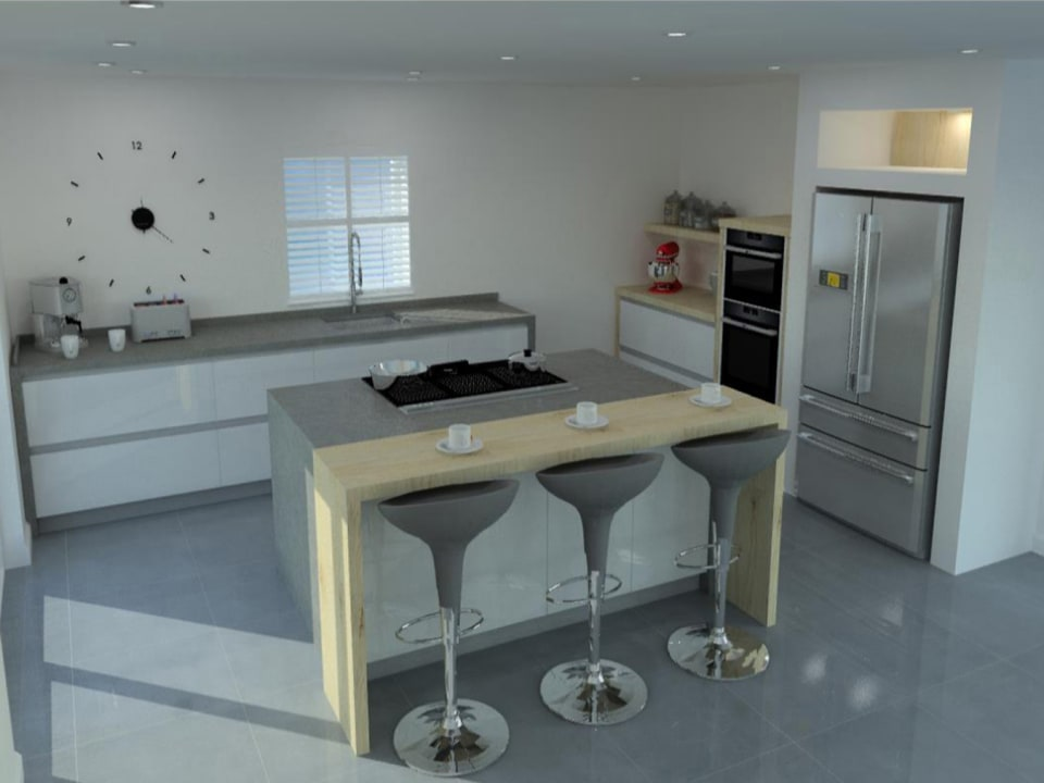 Rendered image of the kitchen