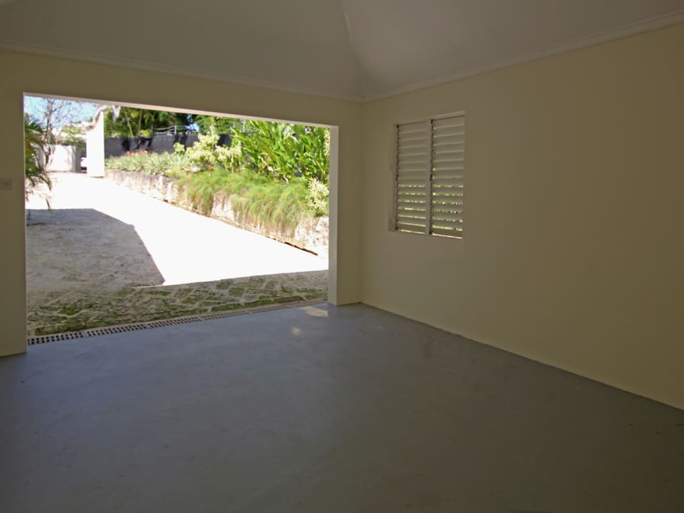 Covered garage with bathroom