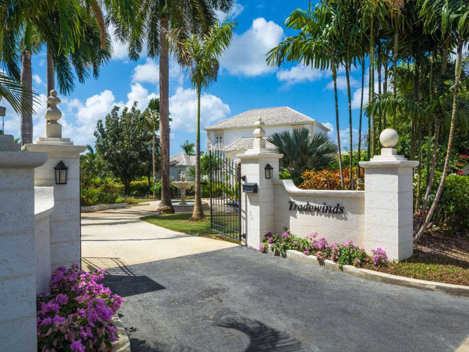 Entrance gate off of Palm Ridge in Royal Westmoreland Resort