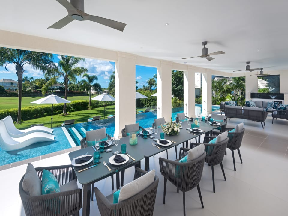 Large covered patio with golf views