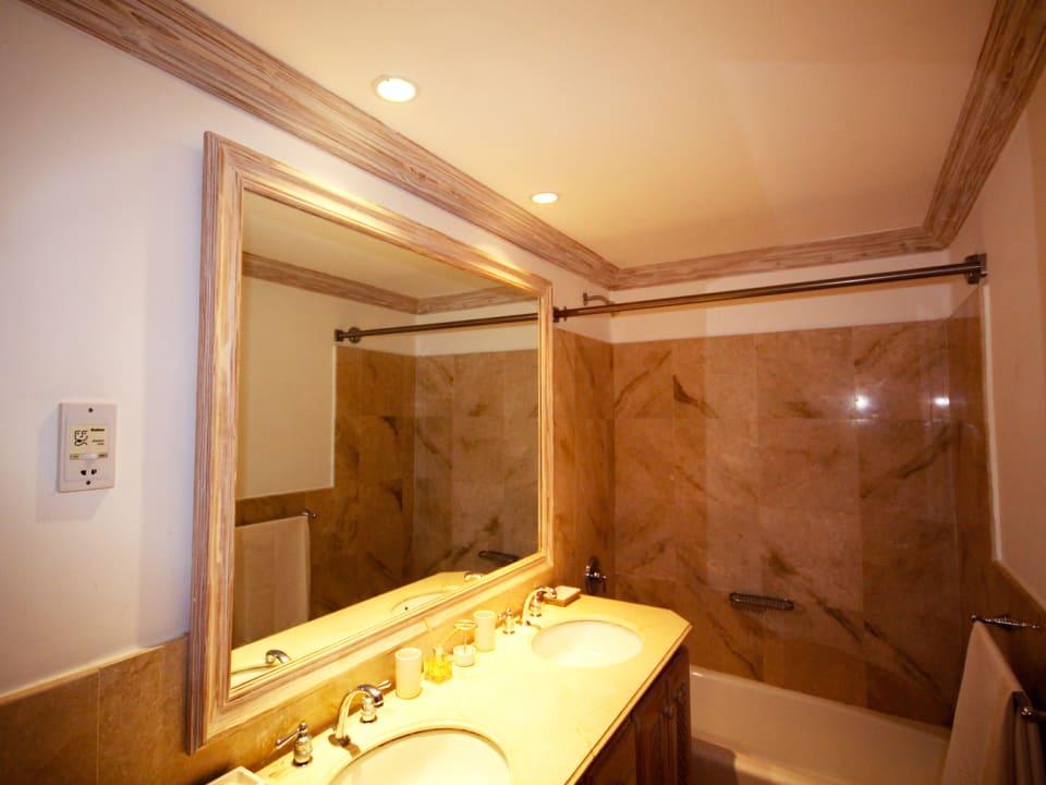 Large bathroom with double vanities