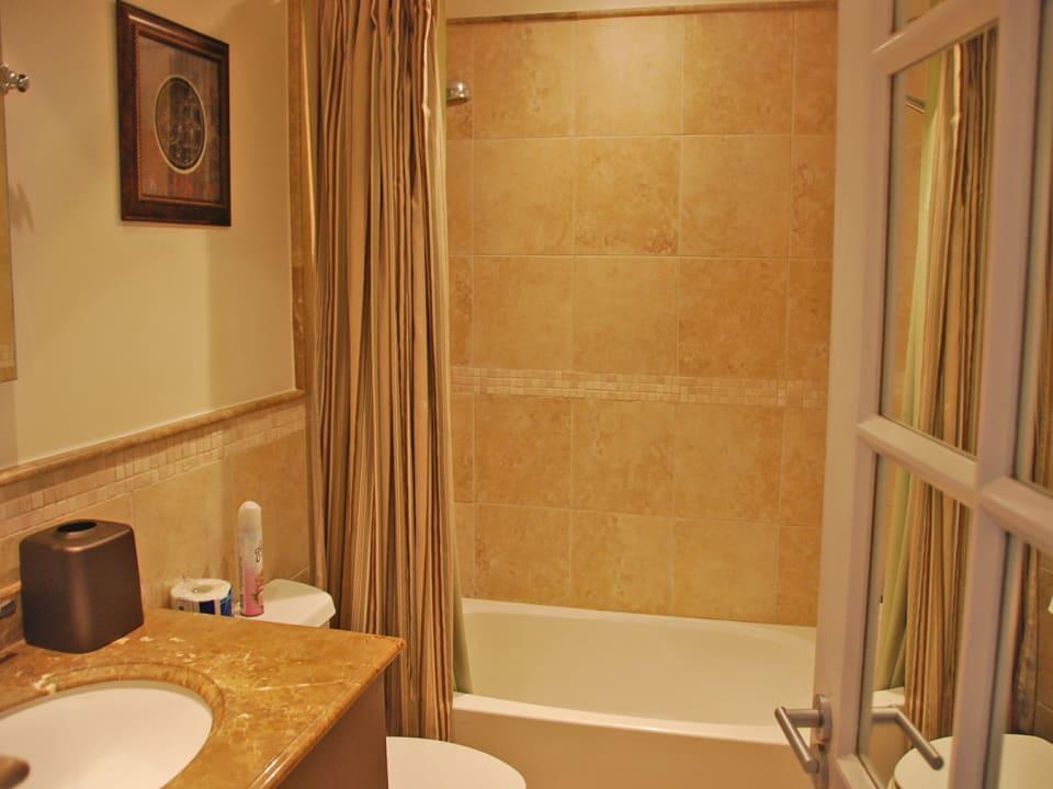Powder room with tub