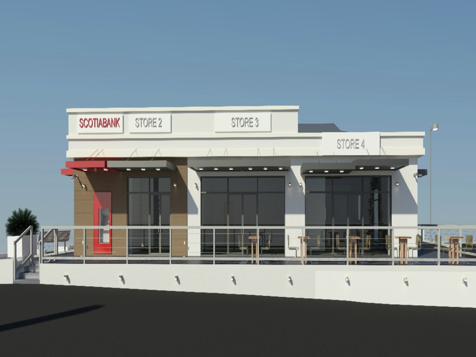 Side Elevation showing the entrance to Shop 2 and 3