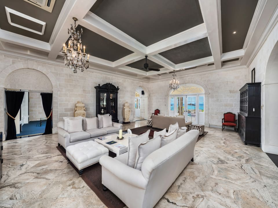 Stately Living Room with High Ceilings