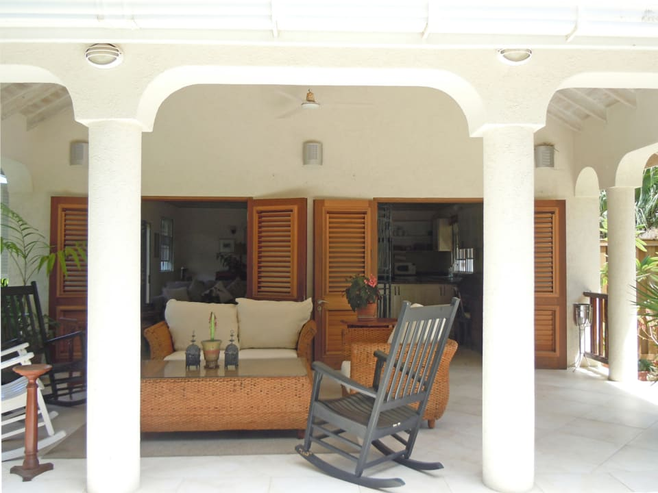 Veranda leads to indoor sitting room