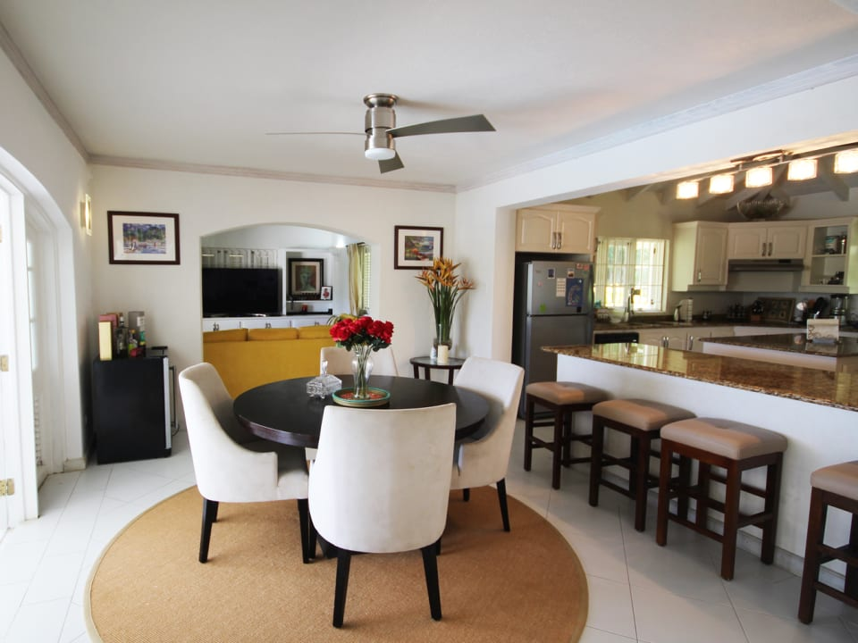 Dining in the foreground, kitchen and TV room in background