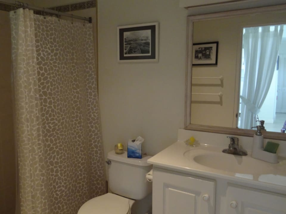Bathroom with shower and vanity