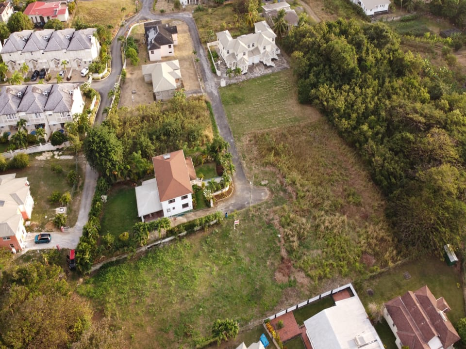 Aerial view of Patricia Gardens Lot 9 showing dual road access perfect for a small development