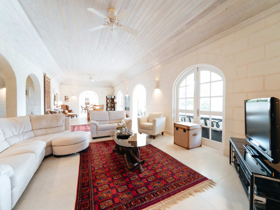 Vaulted ceilings in the spacious living room