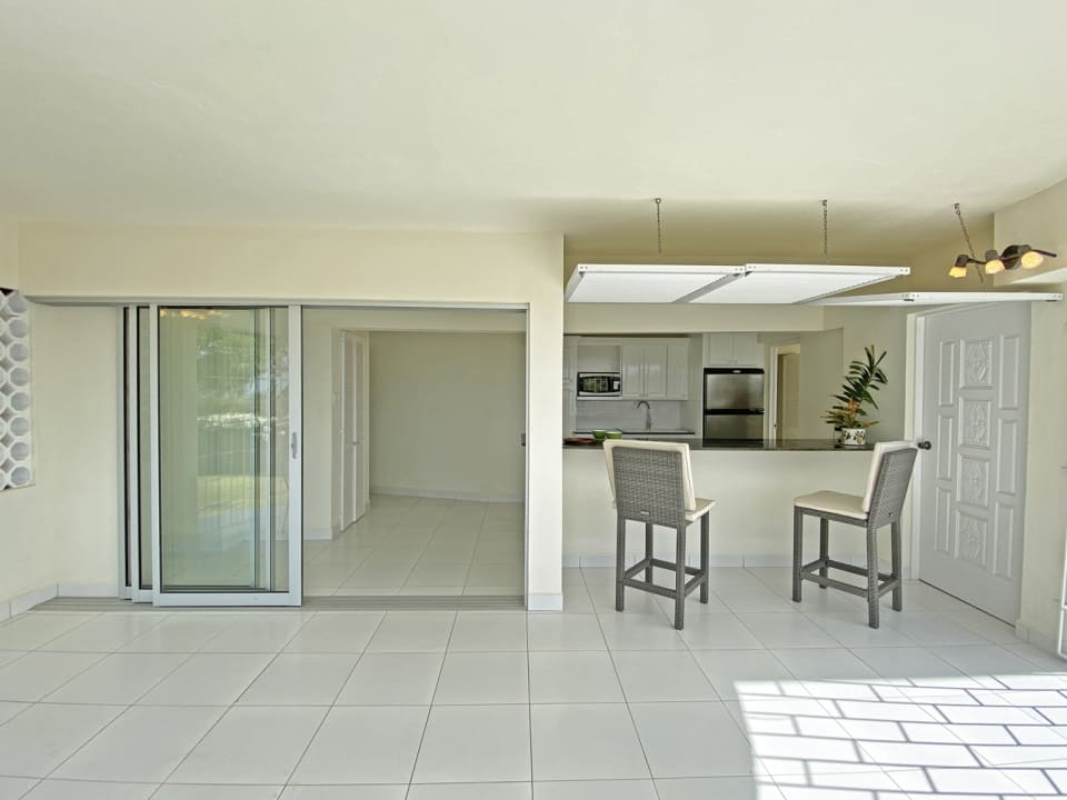 Downstairs, patio and kitchenette