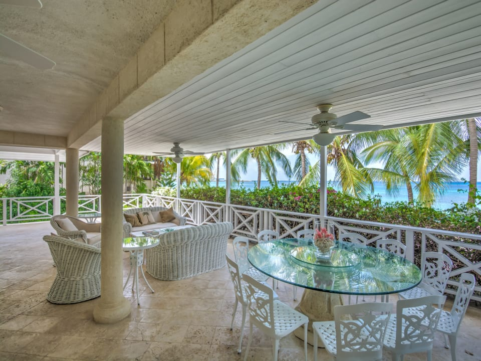 Part of the patio with amazing views of the Caribbean Sea